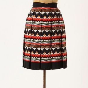 Fei | Anthropologie | 4 | pleated skirt red black